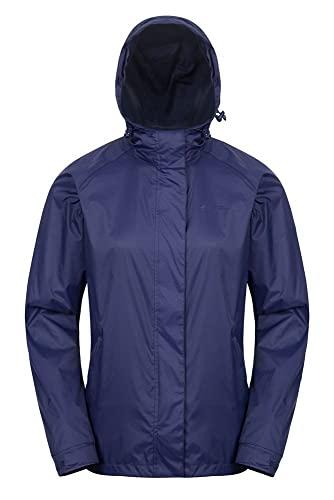 Mountain Warehouse Veste Torrent pour Femmes - Imperméable, Manteau léger, Coutures entièrement soudées, Veste pour Femmes à 2 Poches zippées - Parfaite pour Le Voyage Bleu Marine 36