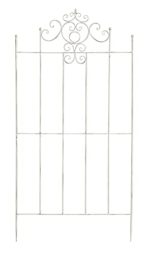 CLP Eisen-Rankgitter Paula im rustikalen Landhausstil | Rankzaun mit stilvollen Verzierungen erhältlich, Farbe:antik weiß