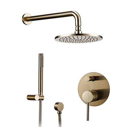 Grifo de ducha Empotrado Cepillado Dorado Grifos Mezcladores de Desviador de Latón Válvula de brazo 8-12' Cabezal de ducha Sistema de ducha Con Cabezal de ducha de mano Manguera de ducha,10inch