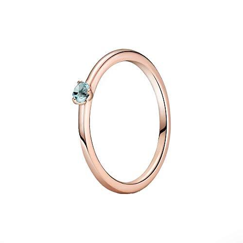 Pandora Colours - Anillo solitario de plata de ley chapada en oro rosa de 14 quilates con circonita azul clara, talla 56