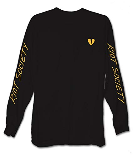 Riot Society Broken Heart Embroidered Mens Long Sleeve T-Shirt - Black (Yellow Heart), Medium