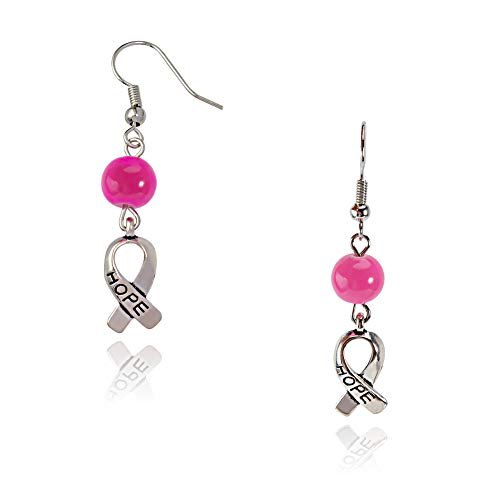 PH PandaHall 20Pairs Hope Breast Cancer Earrings Pink Awareness Ribbon Charms Brass Hooks Earrings Jewelry
