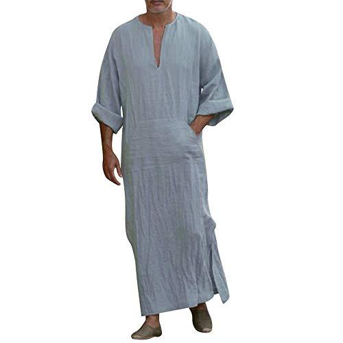 Ashui Herren Nachthemd Kurzarm Lang Pyjama Knöpfleiste Sleepshirt Nachtwäsche Herrennachthem mit Streifen Manschette Dekoration Schwarz Grau