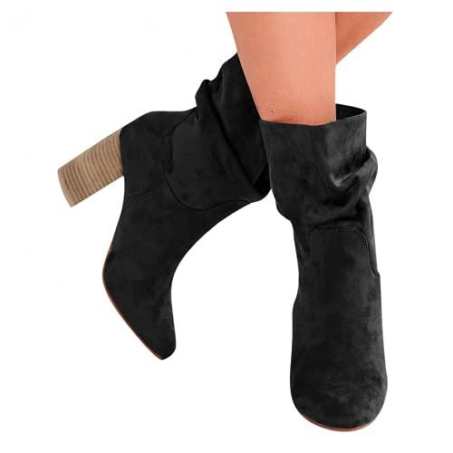 Bcshiye Botas de tacón grueso para mujer, cómodas de invierno, holgadas hasta la rodilla, botas de vestir de ante a media pantorrilla, botas de equitación