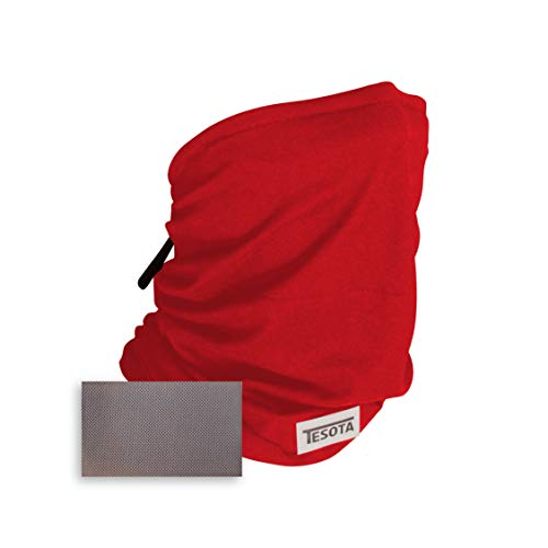 Tesota, 3-layer, Gaiter Mask with Polypropylene, Washable Filter - Adjustable Sizing Straps and Nosewire - Super Soft Material - Breathable for All Day Wear (Red)
