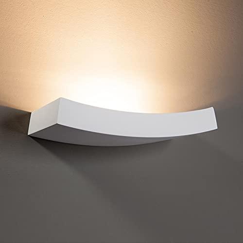 Lindby Gips Wandlampe weiß, bemalbar| indirektes Licht Uplight | Wandleuchte Gips 2 flammig für Wohnzimmer, Esszimmer, Küche, Flur | Gipsleuchte Wand innen | IP20