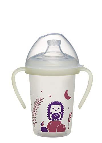 nip first moments Trinklernflasche Day & Night Igel: ab 6 Monaten, auslaufsicherer Schnabel mit Nachleuchtgriff, 270ml