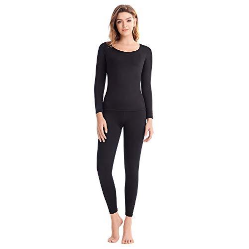 Set di biancheria intima termica da donna ultra morbido strato base top & leggings foderato in pile manica lunga top Johns abiti per donna scollo a V Nero  XL