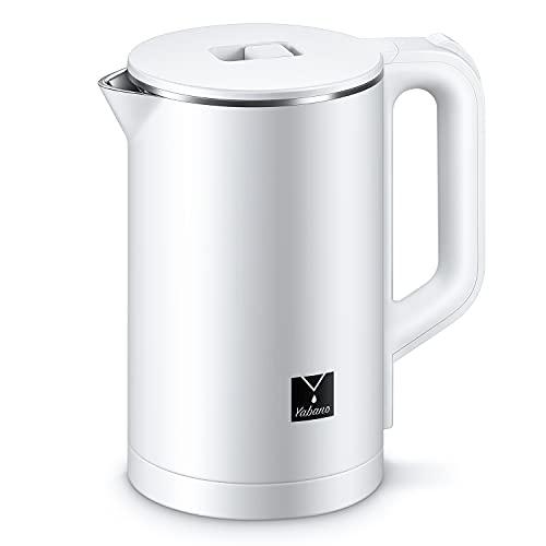 Yabano Hervidor eléctrico con interior de acero inoxidable, 1.7 litros, 1500W, Libre de BPA, Base 360º, color blanco