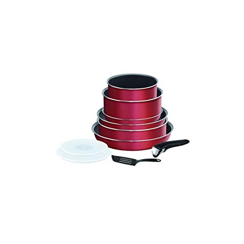 Tefal L2289402 Batterie De Cuisine 8 Pieces Ingenio Essential - Tous Feux Sauf Induction - Made In France - Rouge