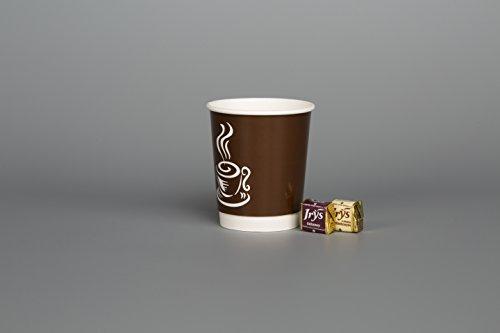 Papier Koffie Theekopjes 50 x 8oz/12oz Wegwerp HOT Koude Dranken Dubbele Muur Feest Reizen Picknick Weg (8oz) Donker Bruin