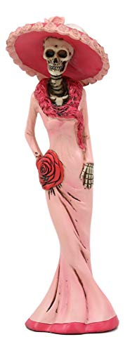"""Ebros Gift Day of The Dead DOD Skeleton Lady Rosa with Pink and Red Cocktail Gown Figurine 8.25"""" Tall Sugar Rose Flower Fashion Diva Statue As Ossuary Macabre Graveyard Halloween Decor"""