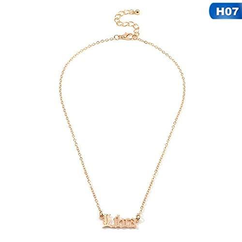 Vintage Goldlegierung Anhänger Halskette Einfache Buchstaben Zwölf Sternbilder Anhänger Halskette Für Frauen7 Waage