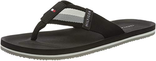 Tommy Hilfiger Herren Sporty Corporate Beach Peeptoe Sandalen, Schwarz (Black Bds), 44 EU