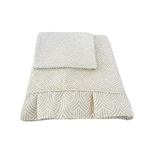 Leichte Frühlings-Tagesdecke aus Baumwolle, für französisches Bett, Kissenbezug, cremefarben