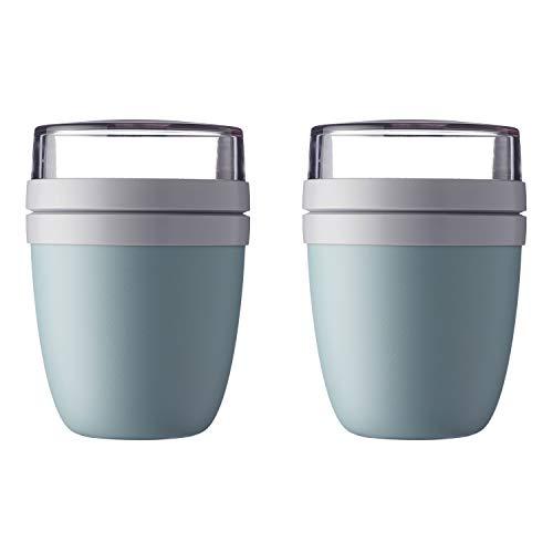 Mepal 'Ellipse' Lunchpot to go 500 ml & 200 ml, Farbe & Stückzahl:Nordic Green (2 Stück)