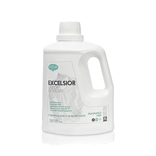 Excelsior - Laundry Detergent with Eco Bottle- Concentrated Liquid - Unscented - Eco-Friendly - Biodegradable, Solvent, and Phosphate Free - for Standard and High-Efficiency Washers - 3 Liter