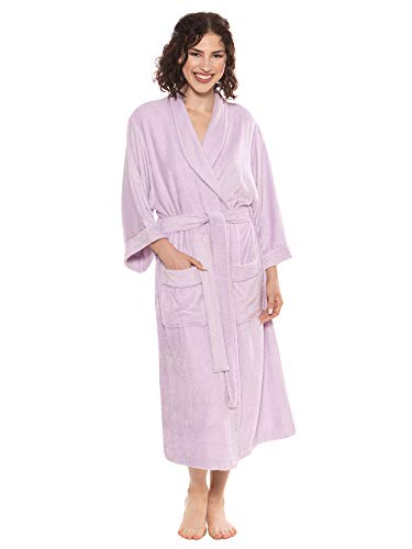 Women's Luxury Terry Cloth Bathrobe - Bamboo Viscose Robe by Texere (Ecovaganza, Lavender Fog, Small/Medium) Unique Gifts for Bridal Shower Graduation WB0101-LVF-SM