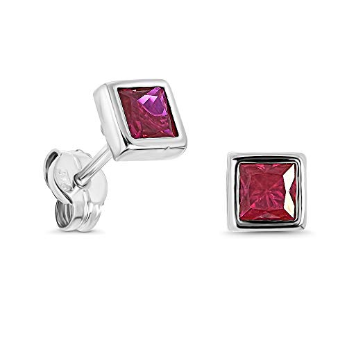 Miore square stud earrings for women in 9kt 375 white gold with red ruby