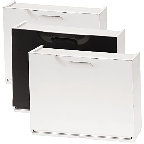 Wellhome UNIKA Pack de 2 Zapatero en Color Polipropileno, Blanco/Negro, 40,1x51x17,3 cms. c/u