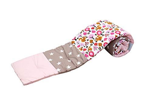 ULLENBOOM Protector para bordes de cuna │ Chichonera bebé también para colecho │ Parachoques de algodón 170x30 cm │ beige ardilla