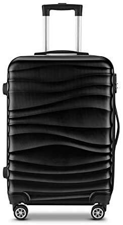 B-fengliu Children's Luggage Trolley case, ABS Universal Wheel, Letter Luggage, Children's Suitcase, Gift Luggage, Aluminum Frame, PC Password Box, Black-Aircraft City 28 inch