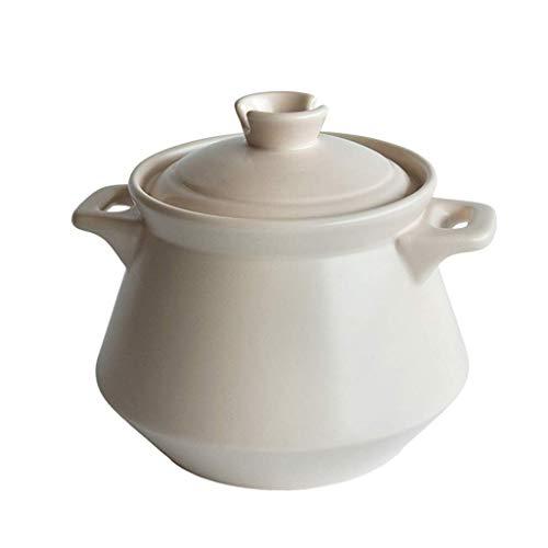 Pentola Household gas minestra padelle in ceramica Pot High Temperature Fornello con manico e coperchio Casseruola Stew 5L / 6.5L (Colore: Beige, Dimensione: 5L) Pentola vapore ( Color : 6.5L )