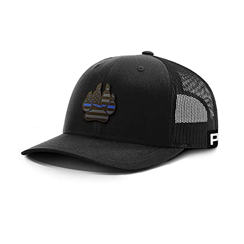 Printed Kicks Thin Blue Line K9 Paw Leather Back Mesh Hat K-9 Police Dog Unit Baseball Cap (Black Front/Black Mesh)