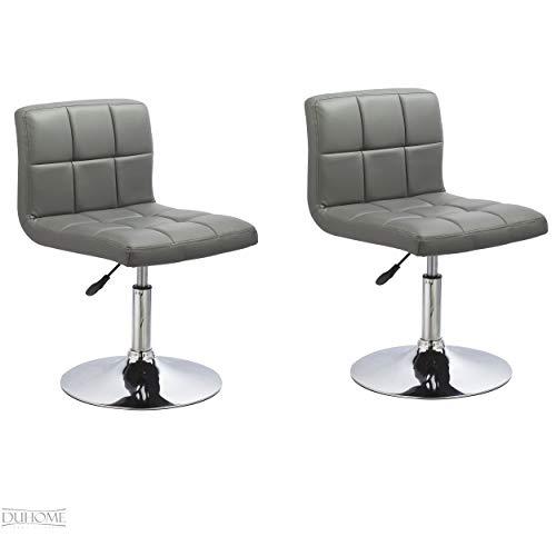 2er Set Esszimmerstuhl Grau aus Kunstleder Küchenstuhl mit Lehne höhenverstellbar Drehbar Stuhl Duhome 0635
