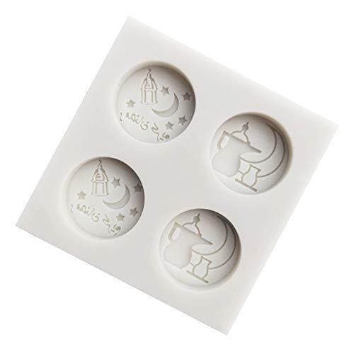 Eid Mubarak - Molde de silicona para fondant, diseño árabe de la fuente luna, para fondant
