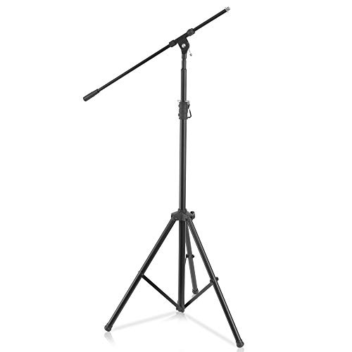 Pyle Heavy Duty Microphone Stand - Height Adjustable from 51.2'' to 78.75'' Inch High w/ Extendable Telescoping Boom Arm 29.5'' and Stable Tripod Base - Clutch in T-Bar Adjustment Point PMKS56