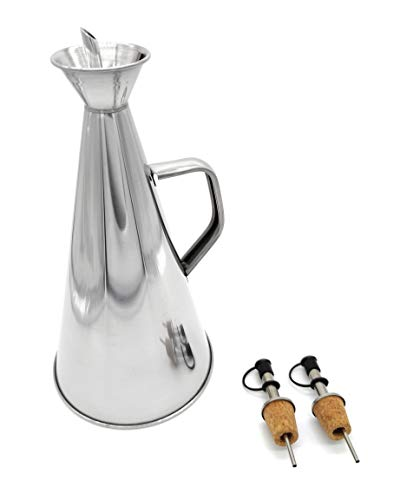 Pack de Aceitera de acero inoxidable antigoteo de 1L y dos Vertedores con corcho para botellas (Aceitera 1L + 2 Vertedores)