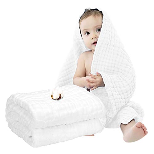Muslin Baby Towel Super Soft Cotton Baby Bath Towel 6 Layers Infant Towel Newborn Towel Blanket Suitable for Babys Delicate Skin 40 x 40inches White
