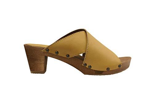 Sanita Ennike Square Flex Sandale | Original handgemacht |Flexible Ledersandale für Damen, Größe: 38 EU, Gelb