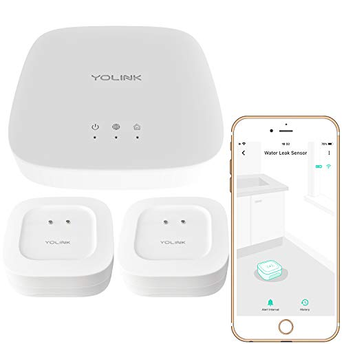 Smart Leak Sensors 2 Pack, YoLink 1/4 Mile World's Longest Range Wireless Smart Water Leak Sensor Compatible with Alexa and IFTTT Leak Detector with App Alerts and Remote Monitor, YoLink Hub Included