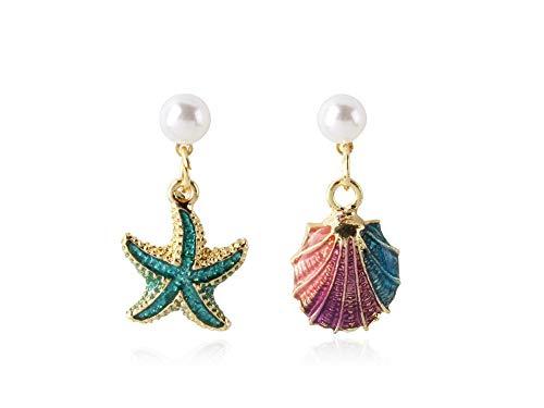 ailov Asymmetrical Earrings Dangle Drop Ocean Starfish Sea Shell Nautical Beach Mermaid Jewelry (Pierced - 925 Sterling Silver Needle)