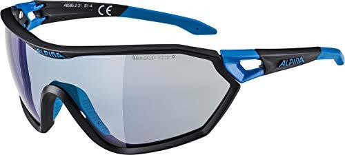 ALPINA S-Way VLM Outdoorsport-Brille, Black Matt-Cyan, One Size