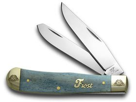 Frost Family 40th Anniversary Blue Smooth Bone 1/600 Trapper Pocket Knife Knives