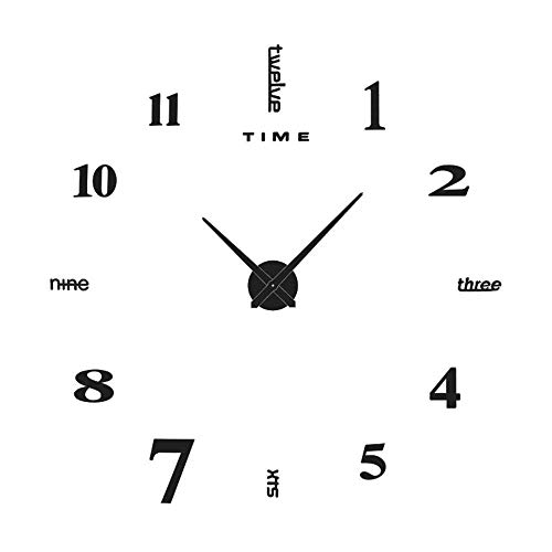 Yolistar Orologio da Parete Fai-da-Te, 3D Adesivo Orologio Parete Decorazione, Silenzioso Facile da Montare Parete Moderno Decorazione per Casa, Ufficio, Hotel - (Nero)