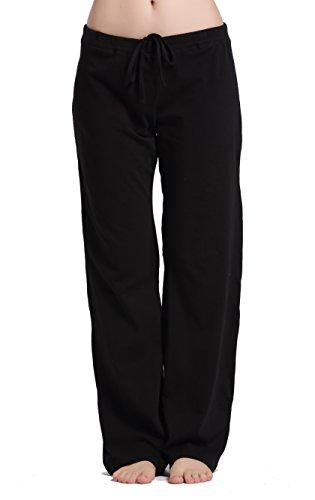CYZ Womens Casual Stretch Cotton Pajama Pants Simple Lounge Pants-Black-S