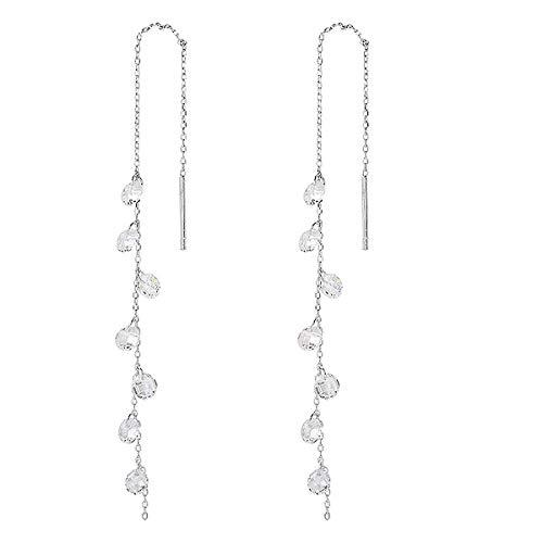 Amaer 925 Sterling Silver Cubic Zirconia Tassel Drop Earrings Long Droplet Dangle Threader Earrings for Women