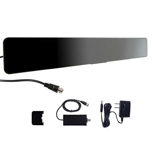 GE Indoor Amplified Digital HD TV Antenna, Modern Bar Design, Long Range Amplifier Signal Booster, Supports 4K 1080p VHF UHF HDTV, Smart TV Compatible, Black, 33691