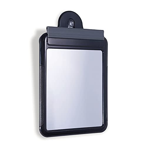 Zadro Fogless Travel Water Shower Mirror with Squeegee and Pouch, 6.5 X 5 Inch Shaving Mirror, Suction-Cup Wall Mount, Black