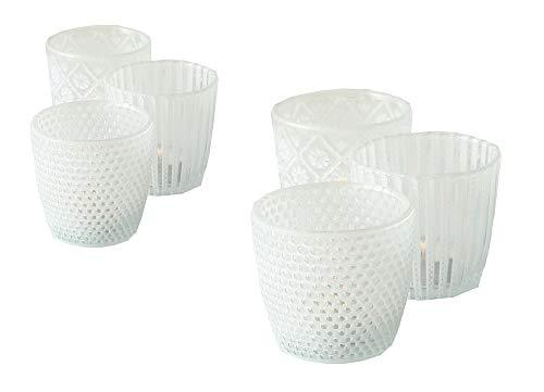 Unbekannt 6 x Windlicht Patty weiß Höhe 7-9 cm mit Muster für Teelichter Tischdeko Teelichthalter Romantisch