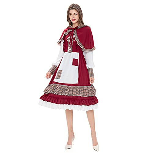 HIZQ Uniforme para Adultos Reina del Castillo De Halloween Caperucita Roja Uniforme Actuacin El Disfraz Sirvienta La Mansin Francesa Es Adecuado Vestir Representaciones Teatrales Fiesta,Rojo,XL