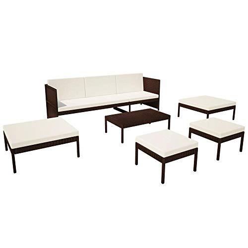 6pcs Modern Garden Furniture Sets with Cushions Rattan Lounge Set Brown Outdoor Sofa Set for Garden Patio Balcony Nodic Style