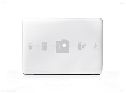 5 Camera Icons (Silver) Photographer Photography Laptop Sticker For MacBook Pro, PC, Laptop, Window, Car, or Wall