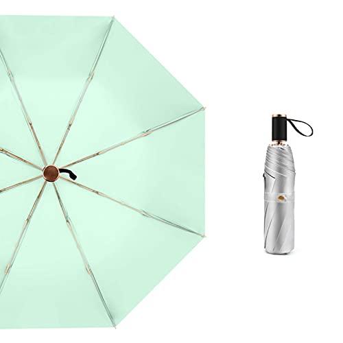 Paraguas Portátil Portátil Doble Paraguas Titanio Plata Lluvia Solar UV Umbrella portátil portátil Mujeres de protección Solar (Color : Light Green)