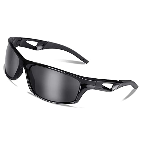 Gafas de sol deportivas polarizadas UV400 Protección y TR90 Superlight Frame Gafas de ciclismo para hombres y mujeres en la conducción de senderismo, equitación pesca, golf Running (negro)