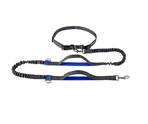 April Pets' Hands Free Retractable Dog Leashes, Adjustable Waist Belt for Running, Jogging and Walking, Free Control for Up to 150 lbs Large Dogs, Bungee Leash (Blue)